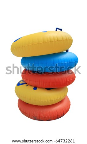 Stack of colorful swimming tubes isolated on white - stock photo
