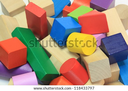 stack of colorful wooden building blocks - stock photo