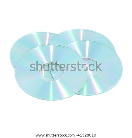 Stack of compact discs isolated on white background - stock photo