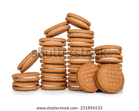 stack of cookies with cream isolated on white background - stock photo