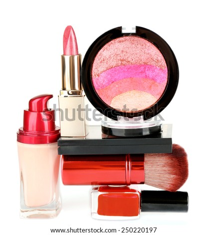 Stack of cosmetics isolated on white background - stock photo
