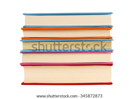 Stack of covered books showing pages/ Neatly Stacked Books Isolated - stock photo