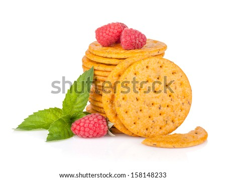 Stack of crackers with mint and berries. Isolated on white background - stock photo