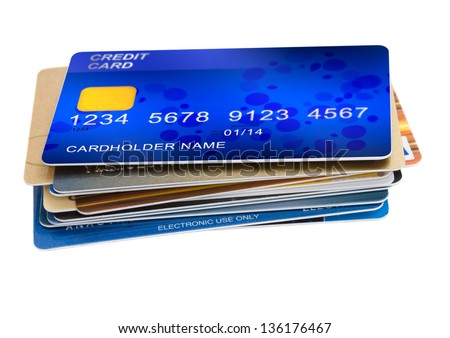 stack of credit cards isolated on white background - stock photo