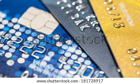 Stack of credit cards, selective focus, backgound, close up - stock photo