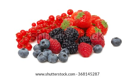 Stack of different garden berries (blueberry, raspberry, strawberry, red currant and blackberry) isolated on white background - stock photo