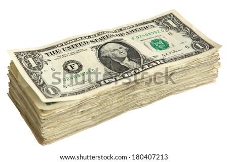 Stack of 1 Dollar Bills - stock photo