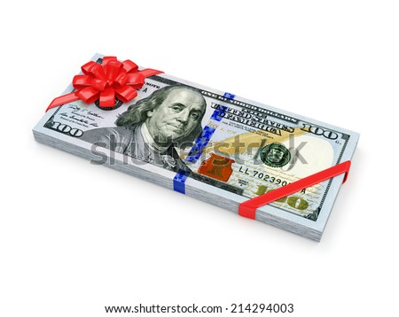 Stack of Dollar Bills with Red Ribbon and Bow isolated on white background. Money Gift Concept - stock photo
