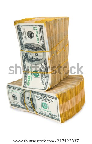 Stack of dollars in business concept isolated on white - stock photo