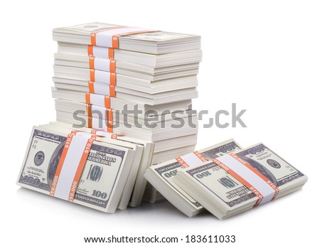 stack of dollars isolated on a white background - stock photo