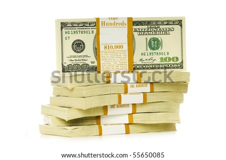 Stack of dollars isolated on the white - stock photo