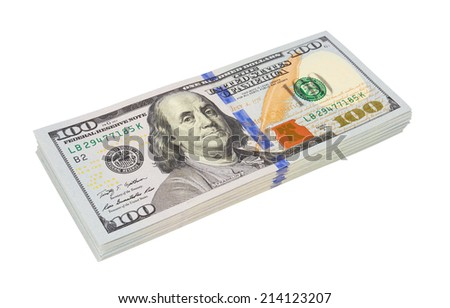Stack of dollars isolated on white background - stock photo