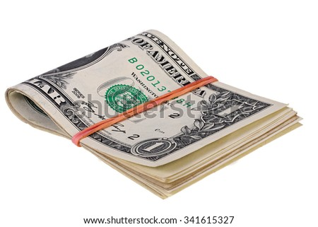 stack of dollars with elastic band isolated on white with Clipping Path - stock photo