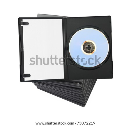 Stack of dvd isolated on white background - stock photo