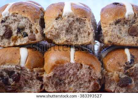 Stack of  Easter Hot Cross Buns closeup.  - stock photo