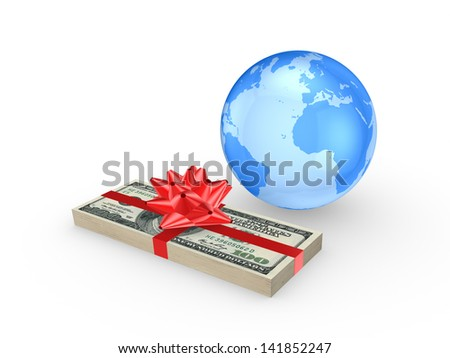Stack of euro and globe.Isolated on white.3d rendered. - stock photo