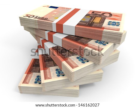 Stack of EURO banknotes. Fifty euro. 3D illustration. - stock photo