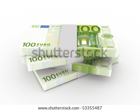 Stack of 100 euro bills isolated on white background. High quality 3d render. - stock photo