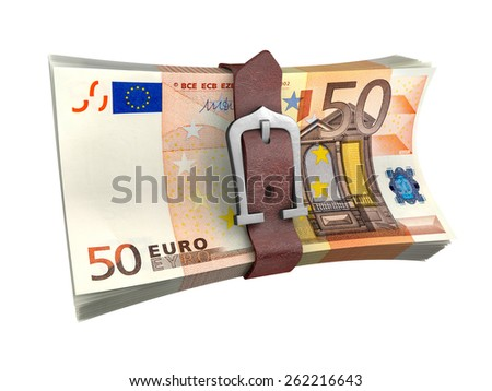 Stack of euro money with leather belt. Crisis concept 3d illustration. - stock photo