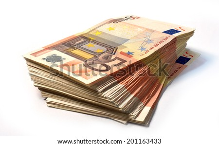 Stack of 50 euro notes - stock photo
