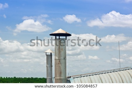 stack of factory with blue sky. concept clean factory - stock photo