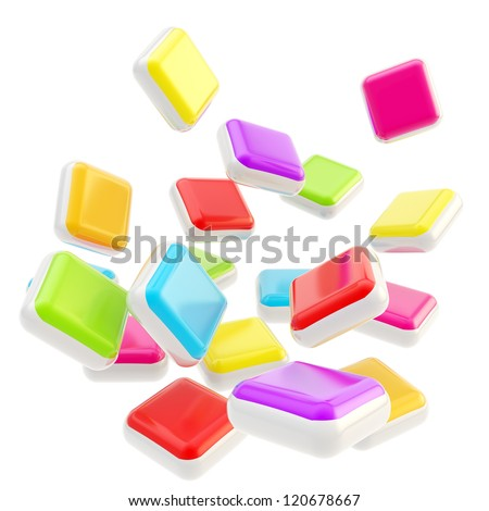 Stack of falling cube application symbolic glossy plates isolated on white background - stock photo