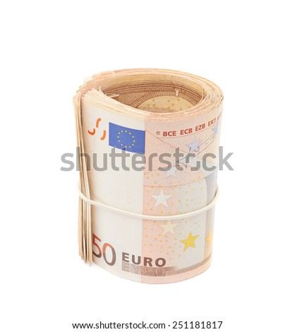 Stack of fifty euro bank notes bend in a form of tube, composition isolated over the white background - stock photo