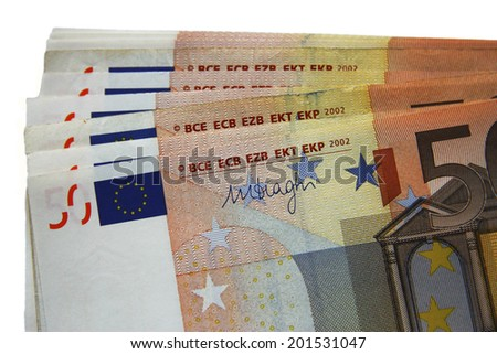 Stack of fifty euro banknotes isolated on the white background - stock photo