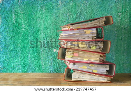 stack of file folders, free copy space - stock photo