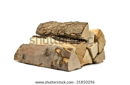 stack of firewood for the stove - stock photo