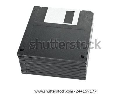 Stack of floppy disks isolated on white background - stock photo