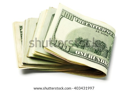 Stack of Folded US Currency Notes on White background - stock photo