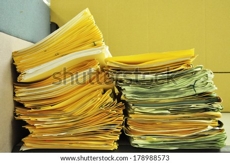 Stack Of Folders On The Table - stock photo