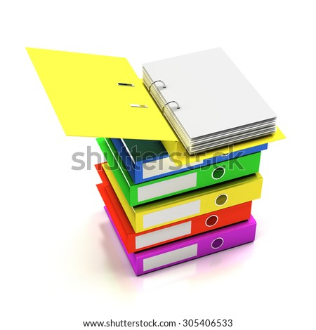 Stack of folders with blank page, 3d render - stock photo