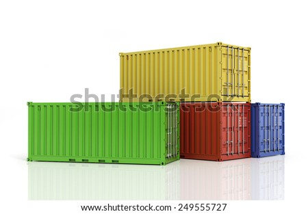 Stack of freight containers. - stock photo