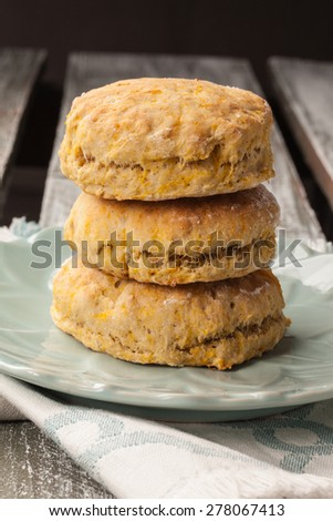stack of freshly baked homemade pumpkin biscuits - stock photo