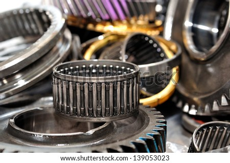 Stack of  gearbox gearings and wheels. - stock photo