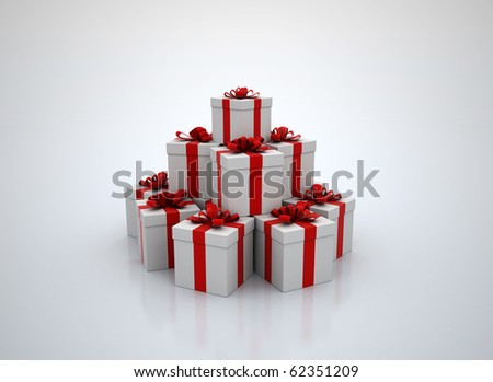 Stack of gift boxes 3d render - stock photo