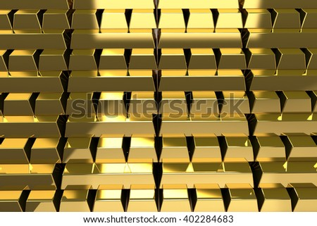 Stack of Gold bars background texture, 3D illustration. - stock photo