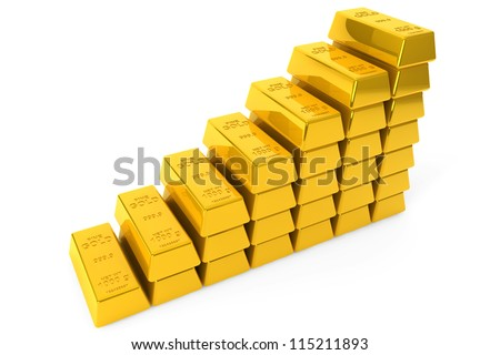 Stack of Gold bars on a white background - stock photo