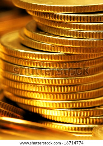 Stack of gold coins close-up - stock photo