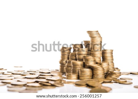 Stack of gold coins isolated on background - stock photo