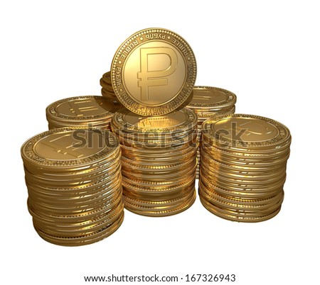 Stack of gold coins with the symbol of the ruble on the isolated background - stock photo
