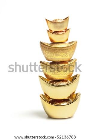 Stack of Gold Ingots on White Background - stock photo