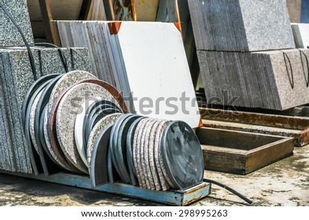 stack of granite slab - marble industry factory smooth surface sandstone grey background - stock photo