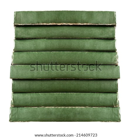 stack of green vintage old books isolated on white background - stock photo