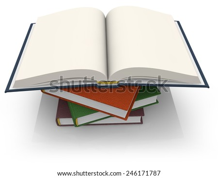 stack of hardcover books isolated on white background - stock photo