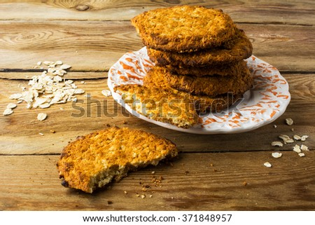 Stack of homemade oatmeal cookies on a plate. Cookies. Pastry. Biscuits. Homemade cookies - stock photo