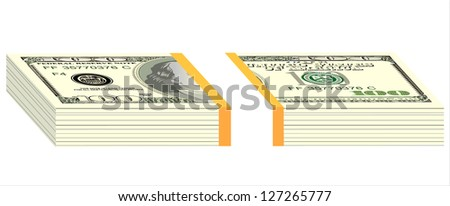 stack of hundred dollar bills - stock photo