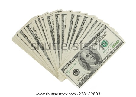 Stack of hundred-dollar bills - stock photo